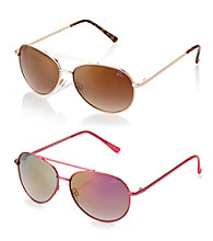 Betsey Johnson® Metallic Red Aviator Reflective Red Mirror Lens Sunglasses