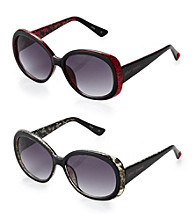 Betsey Johnson® Classic Oval Gold Glitter Inset Sunglasses