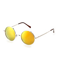 Betsey Johnson® Gold Round Metal Frame Reflective Mirror Lens Sunglasses