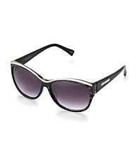 Betsey Johnson® Black Flat Top Plaque Logo Sunglasses