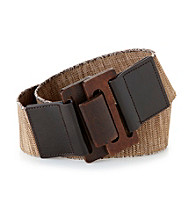 Nine West® Brown Wooden Buckle Stretch Belt