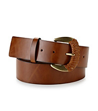 Nine West® Genuine Leather Partially Braided Buckle Belt