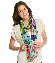 Cejon® Purple Digital Floral Scarf