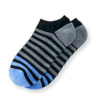 HUE® HUEtopia Black Terry Striped No Show Socks
