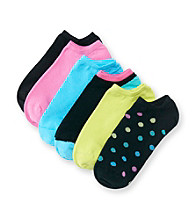HUE® 6-pk. Black Dot Cotton Liner Sport Socks