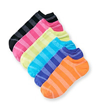 HUE® 6-pk. Heather Stripe Cotton Liner Sport Socks