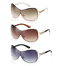 Steve Madden Backframe Vented Metal Shield Sunglasses