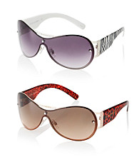 Steve Madden Metal Shield Animal Temple Sunglasses