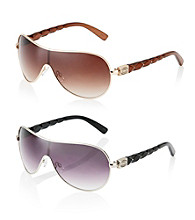 Steve Madden Full Rim Metal Shield Braided Temple Sunglasses