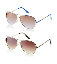 Steve Madden Metal Aviator Colored Epoxy Detail Sunglasses
