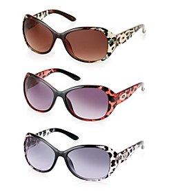 Steve Madden Plastic Oval Leopard Print Sunglasses