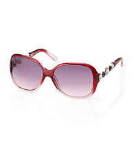 Steve Madden Berry Plastic Glam Rectangle Stone Temple Sunglasses