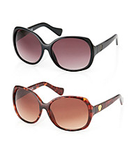 Vince Camuto™ Classic Rectangle Crest Logo Temple Sunglasses