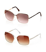 Vince Camuto™ Square Metal Retro Spring Hinge Epoxy Detail Brow Bar & Temple Sunglasses