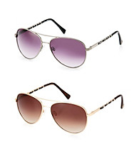 Vince Camuto™ Metal Aviator Spring Hinge Woven Leather Temple Sunglasses