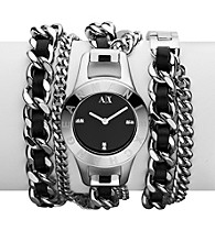 A|X Armani Exchange Women's Stainless Steel and Black Leather Street Arm Candy Watch