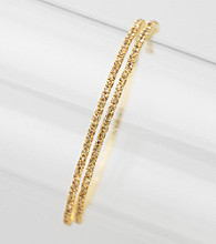 BT-Jeweled Single Row Gold Stone/Goldtone Coil Bracelet