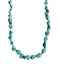 Lucky Brand® Turquoise/Silvertone Long Strand Necklace