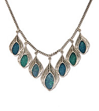 Lucky Brand® Blue/Silvertone Feather Necklace