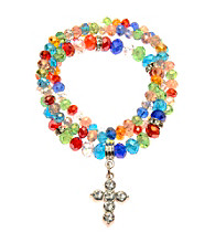 L&J Accessories Three Row Multi Colored Multiple Stretch Glass Bracelets