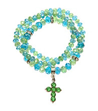 L&J Accessories Three Row Blue/Green Multiple Stretch Glass Bracelets