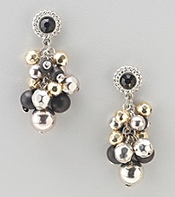 Laura Ashley® Black/Two Tone Post Top Cluster Earrings