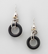 Laura Ashley® Black/Two Tone Drop Earrings with Linked Disc
