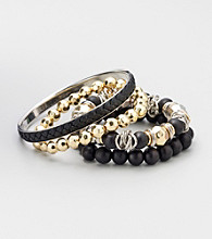 Laura Ashley® Black/Two Tone Bangle Set