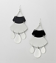 Relativity® Jet/Silvertone Chandelier Earrings