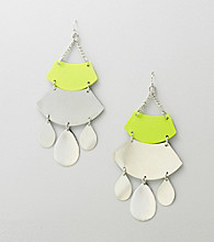 Relativity® Lime/Silvertone Chandelier Earrings