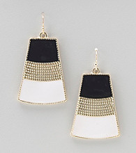 Relativity® Black/White/Goldtone Drop Earrings