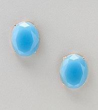 Relativity® Blue Faceted Post Button Earrings