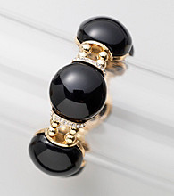 Relativity® Black/Goldtone Bead Stretch Bracelet