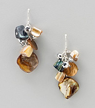 Studio Works® Silvertone Shell Cluster Earrings