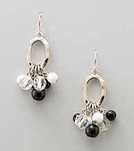 Studio Works® Black/White/Silvertone Drop Cluster Earrings