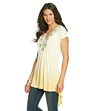 Oneworld® Dip-Dye Flutter Sleeve Hi-Low Tee