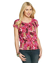 Nine West Jeans Shelby Nature Print Button Placket Peasant Top