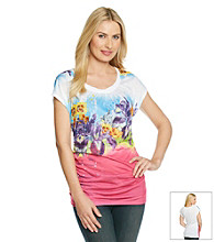 Nine West Jeans Yumi Printed Twist Tee