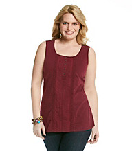 Ruff Hewn Plus Size Mixed Media Henley Tank