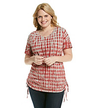 Ruff Hewn Plus Size Short Sleeve V-Neck Tie-Dye Side-Scrunch Tee