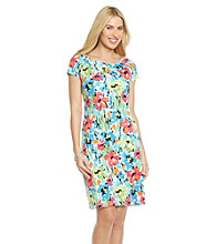 Rafaella® Short Sleeve Balletneck Floral Print Dress