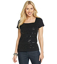 Rafaella® Short Sleeve Squareneck Sequin Embellished Top