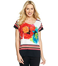 Rafaella® Short Sleeve Scoopneck Floral Top