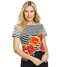 Rafaella® Short Sleeve Boatneck Striped Floral Top