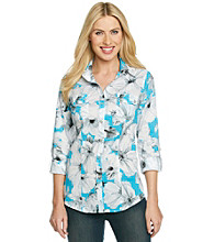 Rafaella® Roll-Tab Buttondown Floral Shirt