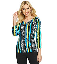 Rafaella® Boatneck Keyhole Striped Print Top