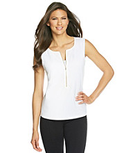 Calvin Klein Sleeveless Zip Front Top