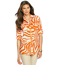 Anne Klein® Animal Roll Sleeve Shirt