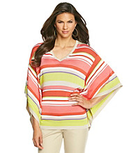 Anne Klein® Striped V-Neck Poncho Sweater