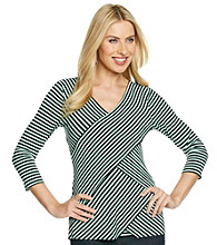 Vince Camuto® V-Neck Striped Bandage Top